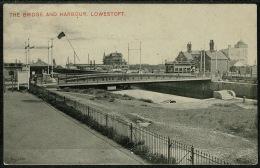 RB 1196 -  Early Postcard - Tram Crossing The Bridge & Lowestoft Harbour Suffolk - Lowestoft