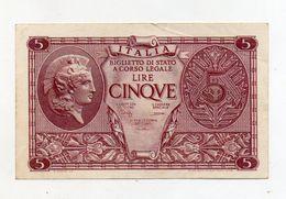 """Italia - Luogotenenza - Biglietto Di Stato Da Lire 5 """" Atena Elmata """" - Decreto 23.11.1944 - (FDC8516) - Italia – 5 Lire"""