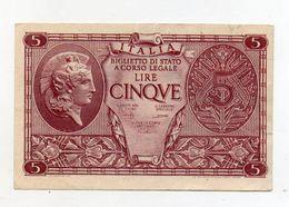 """Italia - Luogotenenza - Biglietto Di Stato Da Lire 5 """" Atena Elmata """" - Decreto 23.11.1944 - (FDC8517) - Italia – 5 Lire"""