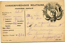 FRANCE CARTE DE FRANCHISE MILITAIRE AYANT VOYAGEE - Lettere In Franchigia Militare
