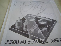ANCIENNE AFFICHE  PUBLICITE COTY JUSQU AU BOUT DES ONGLES 1930 - Perfume & Beauty