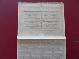 ACTION  DES CHEMINS DE FER REUNIS DU SUD DE L'AUTRICHE,DE LA LOMBARDIE ET DE L'ITALIE CENTRALE VIENNE 1875 - Railway & Tramway