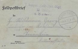 Feldpost WW1: 7. Bayer. Feld Artillerie Regiment P/m 24.4.1917 - Letter Inside  (C133) - Guerre Mondiale (Première)