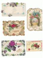 Lot De 5 Petites Cartes Découpées, Dentelle, Voeux, Souvenir, Amitié, Fleur Tissu, Découpis,  Paillettes,... (hon) - Nouvel An