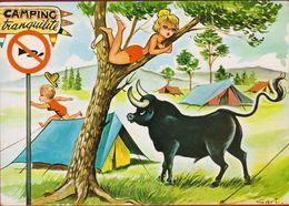 Grote Kaart Grand Format Humor Humour Bull Illustrator Gart Camping Pinup Pin Up Belle Fille Beautiful Lady Bikini - Pin-Ups