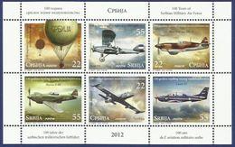 SRB 2012-483-8 100A°MILITARY AIRCRAFT, SERBIA, Blatt, MNH - Flugzeuge