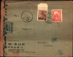 87115) Boemia E Moravia Lettera Aerea Con 1,2.K.- Castelli+1k.foglie Da Praga A A Catania Il  11/12/1942 Bolli+ Censura - Deutschland