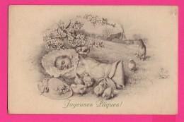 CPA  (Réf Z831) Illustrateur  M.M. Vienne  M. MUNK  Joyeuses Pâques Bébé, Poussins Et Poule, Beau Chapeau - Vienne