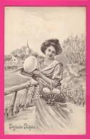CPA  (Réf Z832) Illustrateur  V. K. Vienne   Joyeuses Pâques Femme Avec Beau Panier Et Oeufs - Vienne