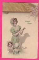 CPA  (Réf Z835) Illustrateur M. M. Vienne Joyeuses Pâques Femme Avec Beau Chapeau Et Enfants - Vienne