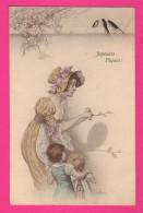 CPA  (Réf Z838) Illustrateur M. M. Vienne Joyeuses Pâques Femme Avec Beau Chapeau Et Enfants Ombres Chinoises - Vienne