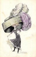 [DC11625] CPA - STUPENDA CARTOLINA ILLUSTRATA - DONNA CON CAPPELLO GIGANTE - MODA - Viaggiata 1919 - Old Postcard - Illustratori & Fotografie