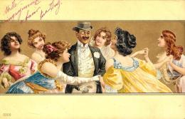 [DC11632] CPA - STUPENDA CARTOLINA ILLUSTRATA - SFONDO DORATO - PERFETTA - Viaggiata 1901 - Old Postcard - Illustratori & Fotografie