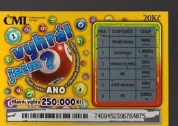 8-314 CZECH REPUBLIC - 2017 - Ceskomoravska Loterijni E Jen CML A Scratchcard  A Scratch Off, Scratch Ticket - Lotterielose