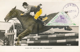 D32942 CARTE MAXIMUM CARD RR 1956 LUNDY - HORSE JUMPING EQUISTRIAN - TRIANGULAR STAMP CP ORIGINAL - Jumping
