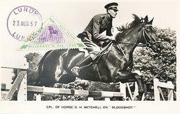 D32943 CARTE MAXIMUM CARD RR 1957 LUNDY - HORSE JUMPING EQUISTRIAN - TRIANGULAR STAMP CP ORIGINAL - Jumping