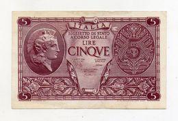 """Italia - Luogotenenza - Biglietto Di Stato Da Lire 5 """" Atena Elmata """" - Decreto 23.11.1944 - (FDC8519) - Italia – 5 Lire"""