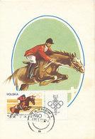 D32944 CARTE MAXIMUM CARD 1967 POLAND - HORSE JUMPING EQUISTRIAN OLYMPICS RINGS CP ORIGINAL - Jumping