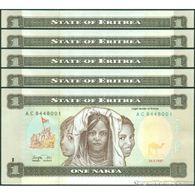 TWN - ERITREA 1 - 1 Nakfa 24.5.1997 DEALERS LOT X 5 - Prefix AC UNC - Erythrée