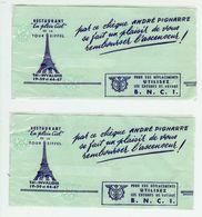 PARIS Tour Eiffel Lot De 2 Cheques De Voyage B N C I 1955 (voir Scans Recto Verso Et Description) - Chèques & Chèques De Voyage