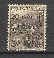 MONACO,1920 Mariage Princesse Charlotte, Yvert 37,5 C + 5 C Sur 1 F + 1 F C Noir ,neuf * / MH,TTB,cote 69 Euros - Neufs