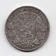 BELGIQUE - LEOPOLD II - 5 Francs - 1871 - 1865-1909: Leopold II
