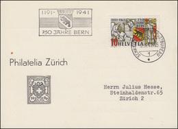 Schweiz 398 Stadt Bern 1941 Auf Schmuck-FDC-Postkarte SCHWEIZ. POSTBUREAU 6.9.41 - Zwitserland