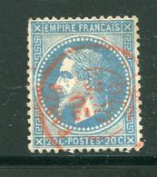 Pas Commun!!! Y&T N°29B- Cachet à Date De PARIS Du 20 Octobre 1870 En Rouge - 1863-1870 Napoléon III Lauré