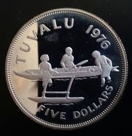 """TUVALU 5 DOLLARS 1976 SILVER PROOF """"Young Bust Right"""" Free Shipping Via Registered Air Mail - Tuvalu"""