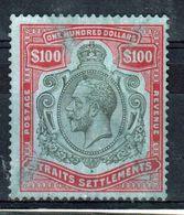 Straits Settlements 1921 King George V One Hundred Dollars Black And Carmine Blue. - Straits Settlements