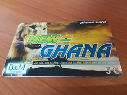 B&M New Ghana  - Lion 5 €   - Little Printed   -   Used Condition - Deutschland