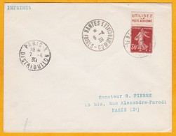 1939 Enveloppe De Nantes Foires Vers Paris - 30 C Semeuse Bandelette Pub Poste Aérienne - Cad Arrivée - Marcophilie (Lettres)