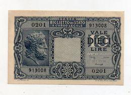 """Italia - Luogotenenza - Biglietto Di Stato Da Lire 10 """" Giove """" - Decreto 23.11.1944 - (FDC8522) - [ 1] …-1946 : Kingdom"""
