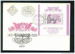 FDC 2858 Bulgaria 1979 /19 Mammals > Rhinoceros  Durer Engravings BLOCK  Grafiken Von Albrecht Durer German Painter - Rhinozerosse