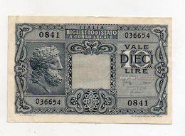"""Italia - Luogotenenza - Biglietto Di Stato Da Lire 10 """" Giove """" - Decreto 23.11.1944 - (FDC8526) - [ 1] …-1946 : Kingdom"""
