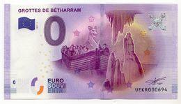 2017-1 BILLET TOURISTIQUE 0 EURO SOUVENIR N°UEBW000640 GROTTES DE BETHARRAM Numéro < à 1000 - EURO