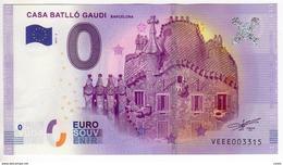 2017-2 BILLET TOURISTIQUE ESPAGNE 0 EURO N°VEEE003290 CASA BATLLO GAUDI - EURO