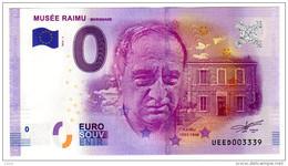 2016-1 BILLET TOURISTIQUE 0 EURO SOUVENIR N°UEED003334 MUSEE RAIMU - EURO