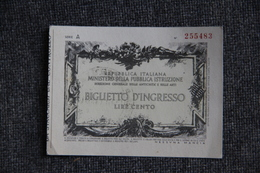 TICKET D'ENTREE ( Biglietto D'Ingresso) - FLORENCE - Galerie PALATINE. 1950 - Tickets - Vouchers