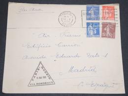 FRANCE - Enveloppe Par Ligne Paris / Madrid Via Bordeaux En 1935 - L 13839 - Marcophilie (Lettres)