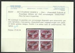EGEO 1944 OCCUPAZIONE TEDESCA SOPRASTAMPA NERO AZZURRASTRA INSELPOST DI AGRAM DENT PERF. ZIG-ZAG MNH - Egeo