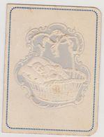 754 - FAIRE PART NAISSANCE BAPTEME DU 15/11/1926 A GORDAVILLE. DECORS GAUFFRE BEBE DANS BERCEAU.FORMAT MIGNONETTE - Naissance & Baptême
