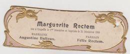 754 - FAIRE PART NAISSANCE BAPTEME DU 25/12/1909 A CHAPELLE .DECORS DORES ET GAUFFRES.FORMAT MIGNONETTE - Naissance & Baptême