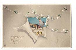 19437 - Joyeuses Pâques Deux Poules Et Poussins Carte En Relief EAS - Pâques