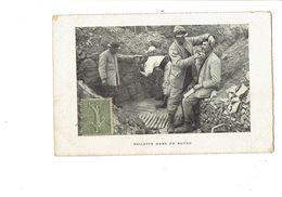 Carte Photo Militaria Groupe Soldats Uniforme TOILETTE Dans Un Boyau - Coiffeur Barbier - Guerre 1914 Poilu - Personajes