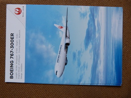 AIRLINE ISSUE / CARTE COMPAGNIE     JAL / JAPAN AIRLINES   B 767 300ER - 1946-....: Era Moderna