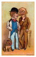 20095  Victorian Card, 2 Well Dressed Men, And English  Terrier, Pitbull - Visiting Cards