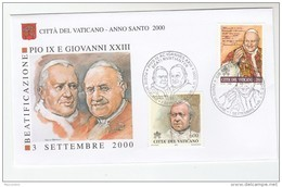2000 VATICAN SPECIAL FDC Pmk Both 3 Sept &1 Sept For BEATIFICATION POPE Pius IX John XXIII Religion Stamps Cover - FDC