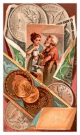 20038  Victorian Card Working For Money, Coins, Gold And Silver - Visiting Cards