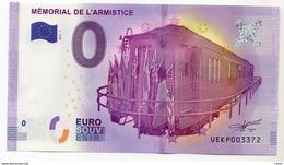 2017-1 BILLET TOURISTIQUE 0 EURO SOUVENIR N° UEKP003394 MEMORIAL DE L'ARMISTICE - EURO
